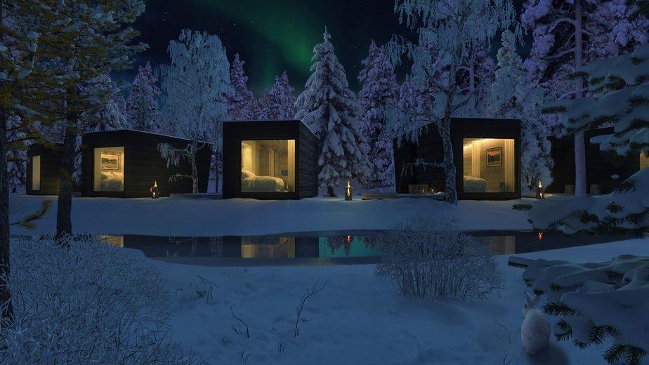 ROVANIEMI L'AURORA BOREALE con sistemazione presso le Panorama Design Hut
